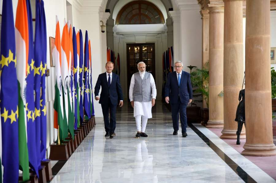 New Delhi: Prime Minister Narendra Modi welcomes President, European Council, Donald Franciszek Tusk and President, European Commission, Jean-Claude Juncker, at Hyderabad House, in New Delhi on October 06, 2017. (Photo: IANS/PIB) by .