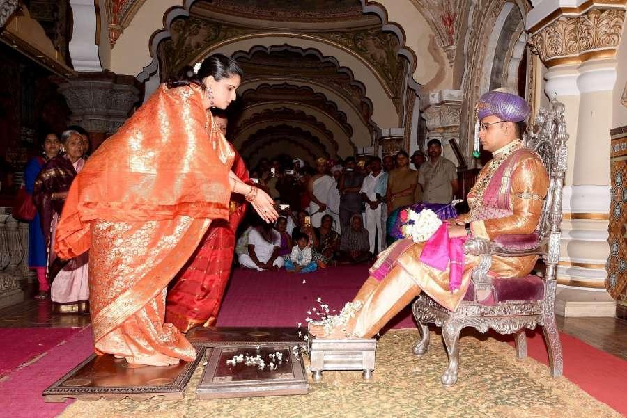Mysuru: Titular Maharaja of Mysore Yaduveer Krishnadatta Chamaraja Wadiyar during the inauguration of Dussehra festivities in Mysuru, Karnataka on Sept 21, 2017. (Photo: IANS) by .
