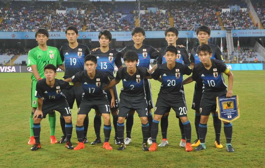 Kolkata: Japanese players during a FIFA U17 World Cup India 2017 Group E match between Japan and New Caledonia at Salt Lake Stadium in Kolkata on Oct 14, 2017. (Photo: Kuntal Chakrabarty/IANS) by .