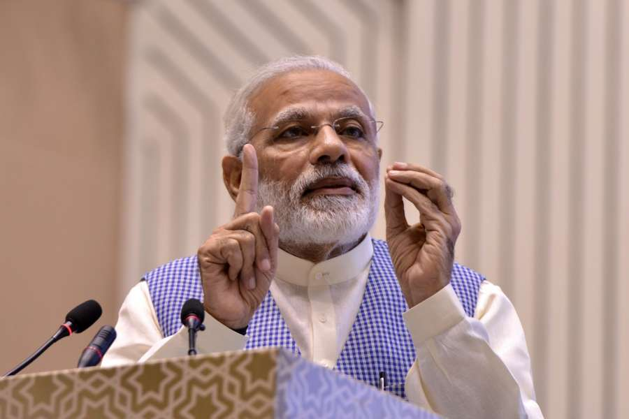 New Delhi: Prime Minister Narendra Modi addresses at the Golden Jubilee Year celebrations of Institute of Company Secretaries of India in New Delhi, on Oct 4, 2017. (Photo: IANS) by .