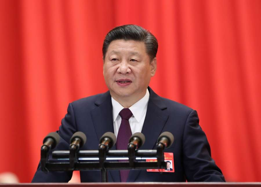 BEIJING, Oct. 18, 2017 (Xinhua) -- Xi Jinping delivers a report to the 19th National Congress of the Communist Party of China (CPC) on behalf of the 18th Central Committee of the CPC at the Great Hall of the People in Beijing, capital of China, Oct. 18, 2017. The CPC opened the 19th National Congress at the Great Hall of the People Wednesday morning. (Xinhua/Ma Zhancheng/IANS) by .