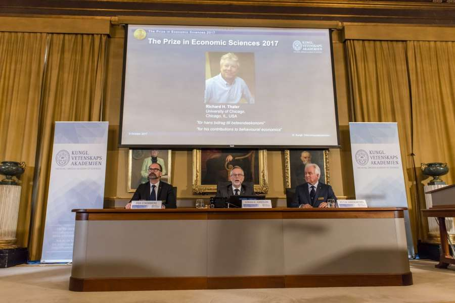 """STOCKHOLM, Oct. 9, 2017 (Xinhua) -- Photo taken on Oct. 9, 2017 shows the press conference to announce the 2017 Nobel Prize in Economics in Stockholm, Sweden. The 2017 Nobel Prize in Economics, or officially the Sveriges Riksbank Prize in Economic Sciences in Memory of Alfred Nobel, was awarded to Richard H. Thaler """"for his contributions to behavioural economics,"""" announced the Royal Swedish Academy of Sciences here on Monday. (Xinhua/Shi Tiansheng/IANS) by ."""