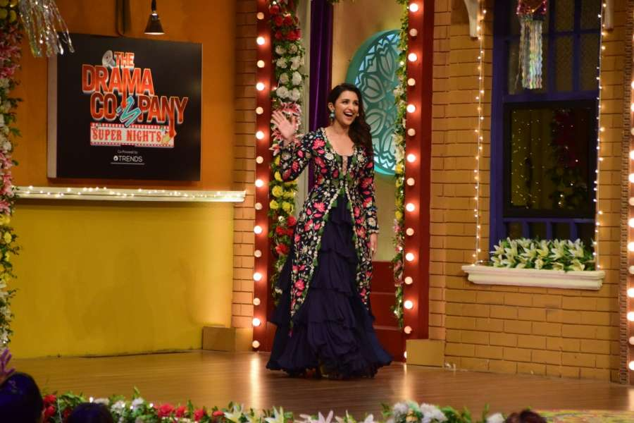 "Mumbai: Actress Parineeti Chopra during the promotion of her upcoming film ""Golmaal Again"" on the sets of television show ""The Drama Company"" in Mumbai on Oct 9, 2017.(Photo: IANS) by ."