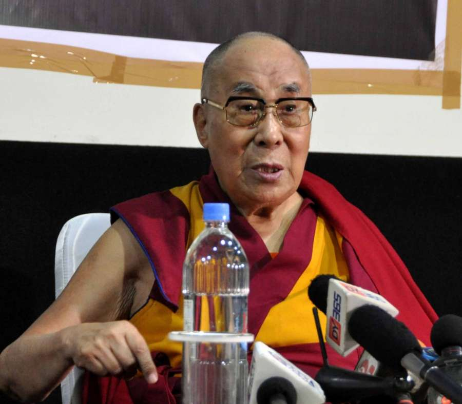 Imphal: Tibetan Spiritual leader Dalai Lama addresses a press conference in Imphal, Manipur on Oct 18, 2017. (Photo: IANS) by .