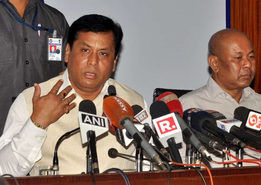 Guwahati: Assam Chief Minister Sarbananda Sonowal addresses a press conference in Guwahati on May 24, 2017. (Photo: IANS) by .