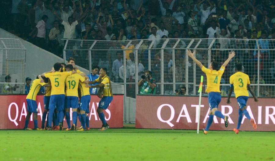 Kolkata: Brazilian players celebrate after winning FIFA U17 World Cup 2017 Quarter Final match against Germany at Salt Lake Stadium in Kolkata, on Oct 22, 2017. (Photo: Kuntal Chakrabarty/IANS) by .