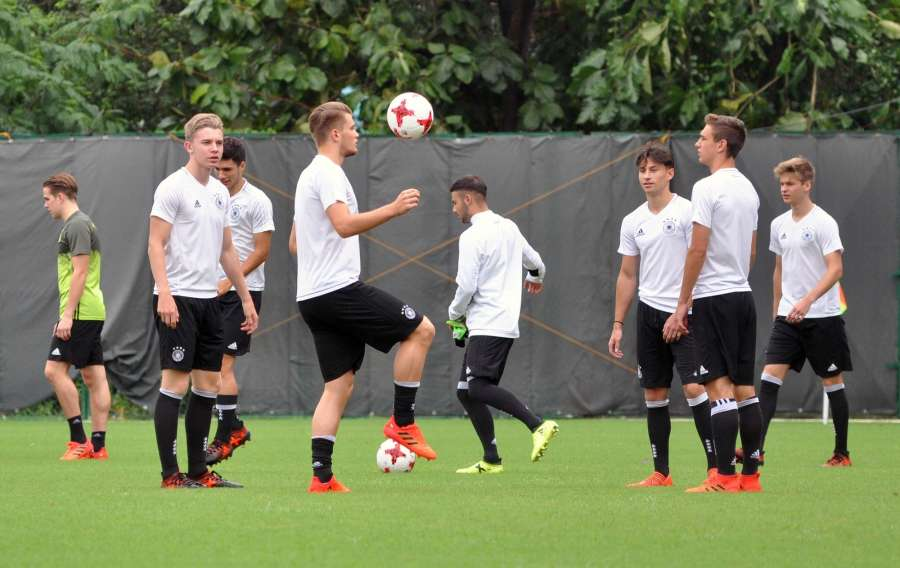 Kolkata: German players during a practice session ahead of FIFA U-17 Quarter Finals in Kolkata on Oct 20, 2017. (Photo: IANS) by .