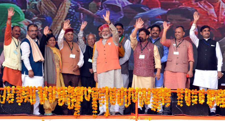 Rehan: Prime Minister Narendra Modi during a BJP rally ahead of November 8 Assembly polls, in Rehan of Himachal Pradesh's Kangra district on Nov 2, 2017. (Photo: IANS) by .