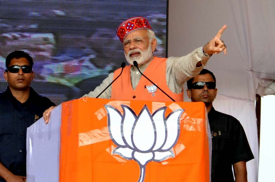 Rehan: Prime Minister Narendra Modi addresses during a BJP rally ahead of November 8 Assembly polls, in Rehan of Himachal Pradesh's Kangra district on Nov 2, 2017. (Photo: IANS) by .