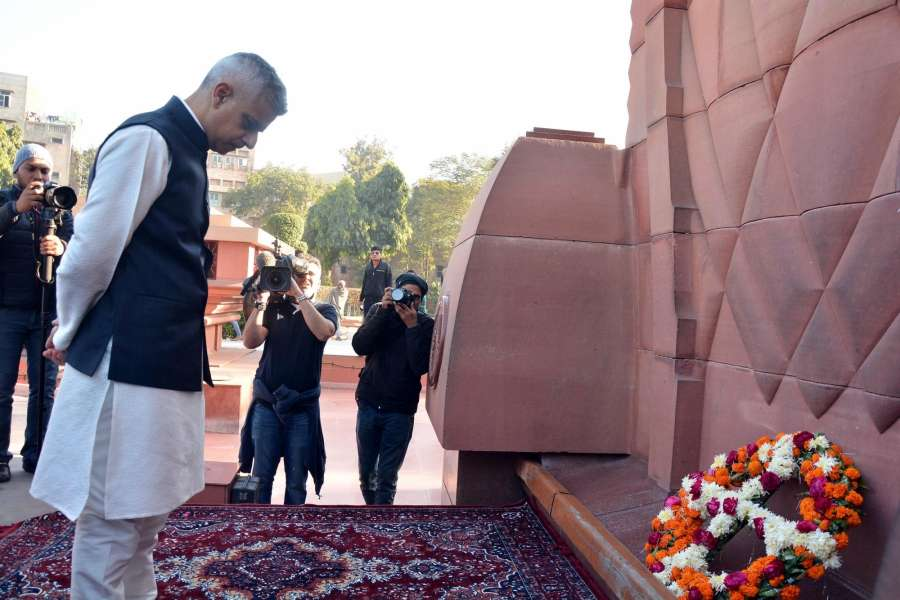 Amritsar: London Mayor Sadiq Khan pays tribute to martyrs during his visit to the Jallianwala Bagh in Amritsar on Dec 6, 2017.(Photo: IANS) by .