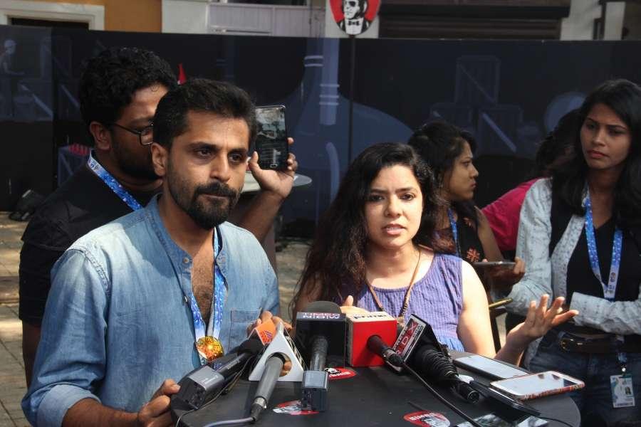 Panaji: Film 'S Durga' actors Khanan Nayar and Rajshree Deshpande address a press conference at 48th International Film Festival of India (IFFI-2017) in Panaji on Nov 23, 2017. (Photo: IANS) by .