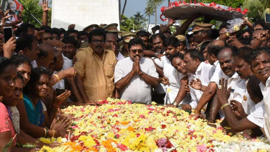 Chennai: Sidelined AIADMK leader T.T.V.Dinakaran visits the memorial of late Jayalalithaa in Chennai, on Dec 24, 2017. Dinakaran, who is contesting as an Independent candidate established an initial lead in the by-election for the Radhakrishnan Nagar (R.K.Nagar) constituency. By-poll was necessitated following the death of AIADMK leader and Chief Minister Jayalalithaa on December 5, 2016, who represented the seat. (Photo: IANS) by .