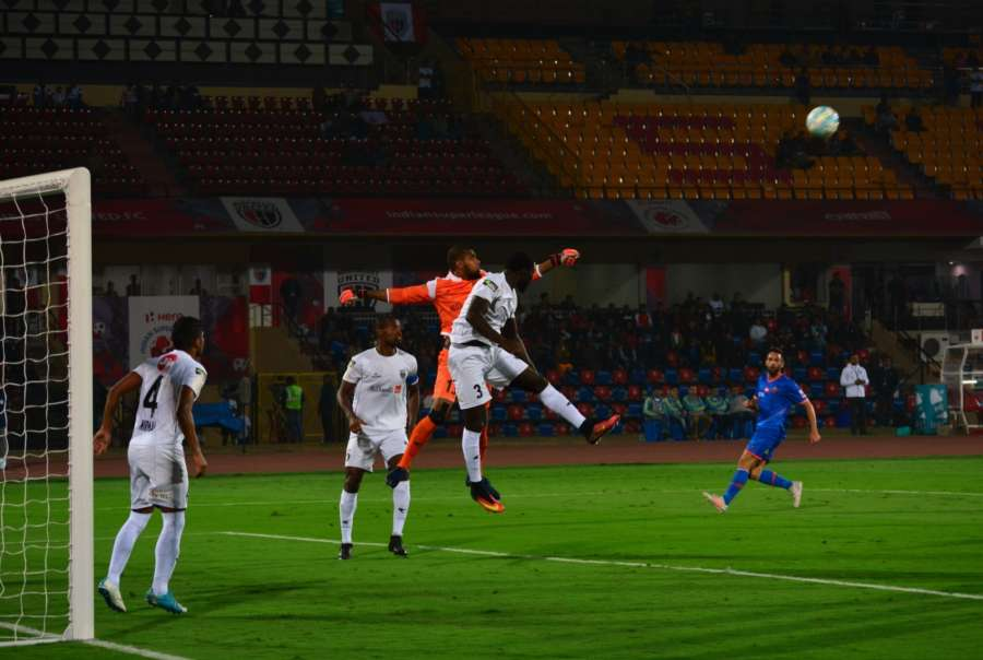 Guwahati: Players in action during an ISL match between North East United FC and FC Goa at Indira Gandhi Athletic Stadium in Guwahati. (Photo: IANS) by .