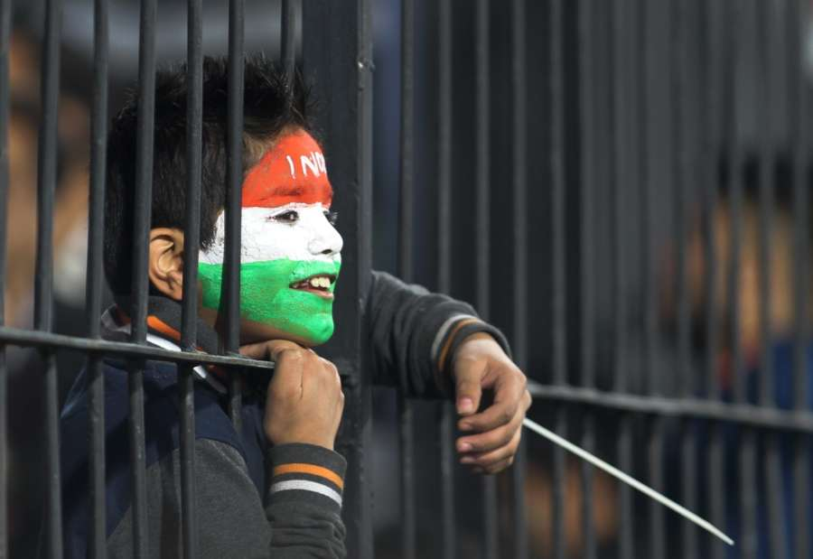 A fan during the match of India. (Photo: Surjeet Yadav/IANS) by .