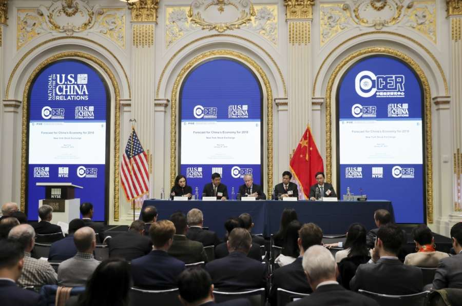 """NEW YORK, Jan. 9, 2018 (Xinhua) -- Invited guests attend the """"Forecast: China's Economy 2018,"""" an event hosted by the National Committee on U.S.-China Relations, in New York, the United States, on Jan. 9, 2018. Chinese and American economists discussed China's economic outlook in 2018 and beyond during the event here on Tuesday. (Xinhua/Wang Ying/IANS) by ."""