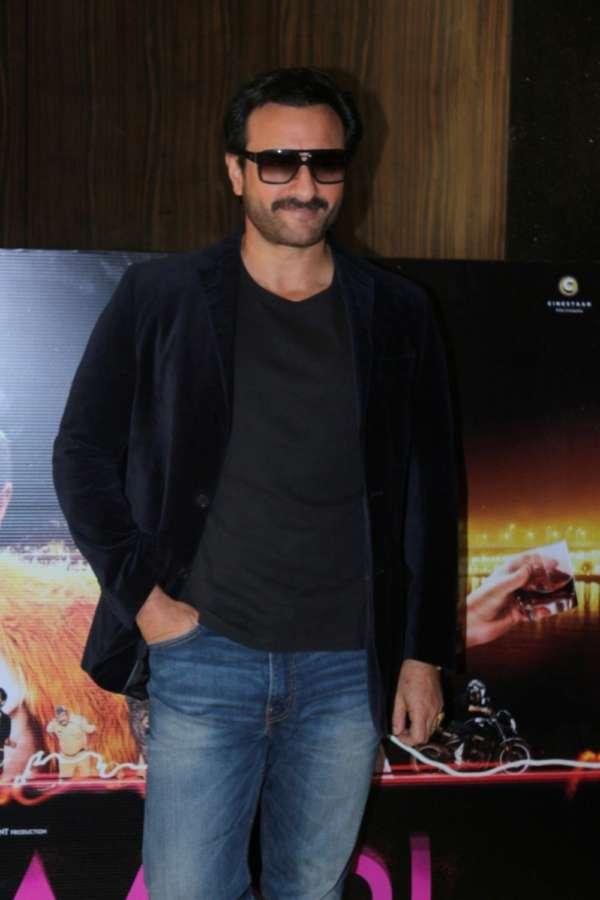 "Mumbai: Actor Saif Ali Khan during the song launch of his upcoming film ""Kaalakaandi"" in Mumbai. (Photo: IANS) by ."