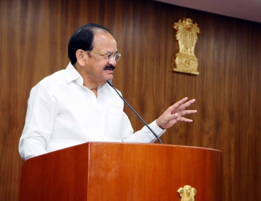 New Delhi: Vice President M Venkaiah Naidu addresses the Students and their families being offered Scholarships from Amar Ujala Foundation of Amar Ujala Publications Limited, in New Delhi on April 19, 2018. (Photo: IANS/PIB) by .