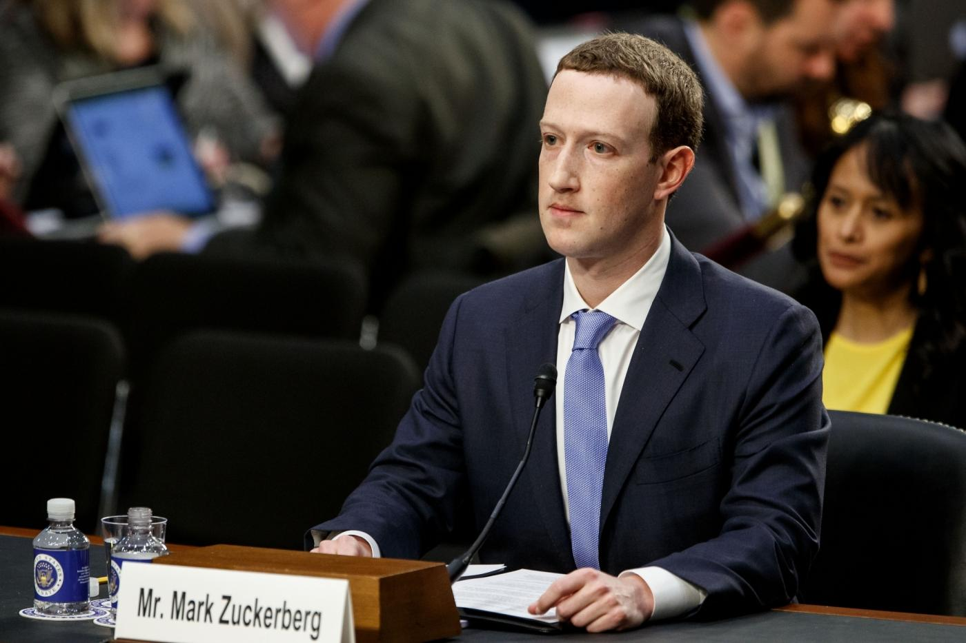 "WASHINGTON, April 10, 2018 (Xinhua) -- Facebook CEO Mark Zuckerberg testifies at a joint hearing of the Senate Judiciary and Commerce committees on Capitol Hill in Washington D.C., United States, on April 10, 2018. Facebook CEO Mark Zuckerberg told Congress in written testimony on Monday that he is ""responsible for"" not preventing the social media platform from being used for harm, including fake news, foreign interference in elections and hate speech. (Xinhua/Ting Shen/IANS) by ."