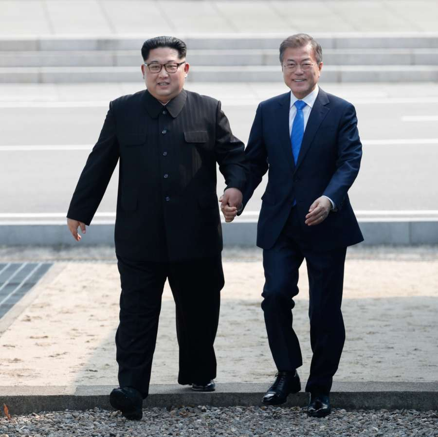 PANMUNJOM, April 27, 2018 (Xinhua) -- South Korean President Moon Jae-in (R) meets with top leader of the Democratic People's Republic of Korea (DPRK) Kim Jong Un in the border village of Panmunjom on April, 27, 2018. Moon Jae-in arrived Friday morning in the border village of Panmunjom for his first summit with Kim Jong Un. (Xinhua/Inter-Korean Summit Press Corps/IANS) by .