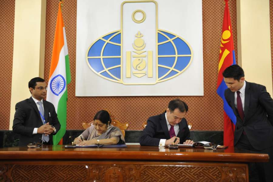 Ulaanbaatar (Mongolia): External Affairs Minister Sushma Swaraj and Foreign Minister of Mongolia Damdin Tsogtbaatar signs the cooperation agreement on April 25, 2018. Both discussed economic cooperation in areas such as infrastructure development, energy, services and IT and agreed to explore possibility of launching direct air connectivity. (Photo: IANS/MEA) by .