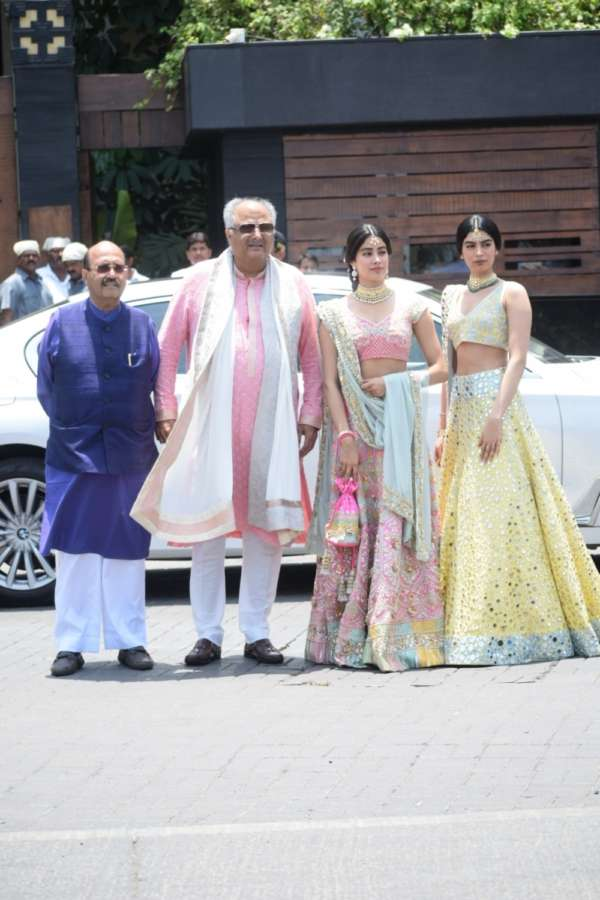 Mumbai: Rajya Sabha MP Amar Singh and producer Boney Kapoor along with his daughters Janhvi Kapoor and Khushi Kapoor during wedding ceremony of Sonam Kapoor and Anand Ahuja in Mumbai on May 8, 2018. (Photo: IANS) by .