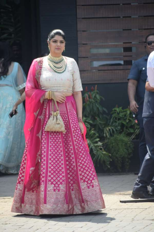 Mumbai: Actor Arjun Kapoor's sister Anshula Kapoor during wedding ceremony of Sonam Kapoor and Anand Ahuja in Mumbai on May 8, 2018. (Photo: IANS) by .