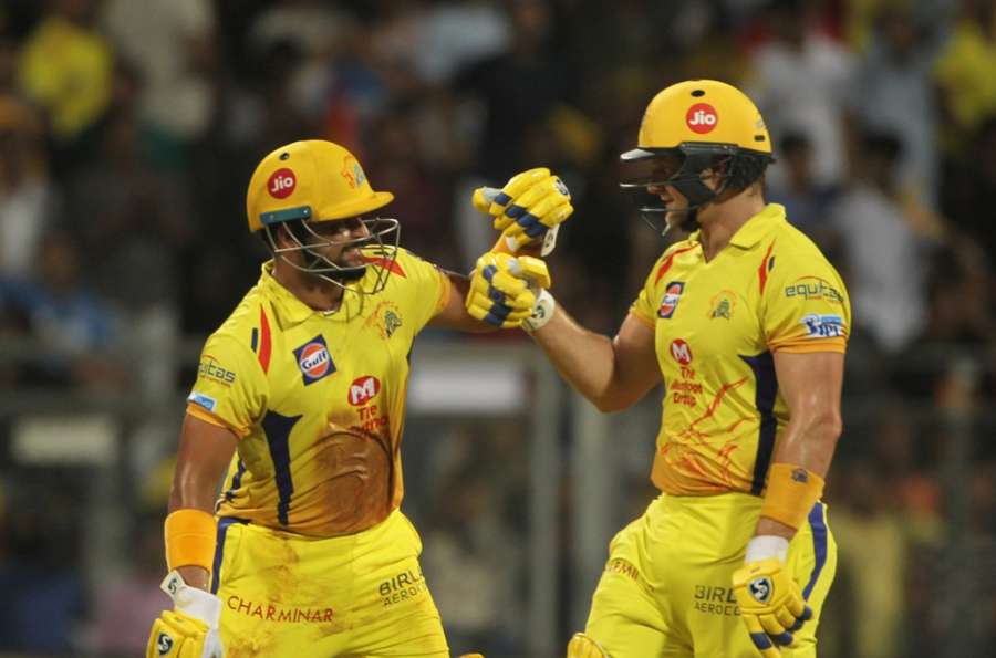 Mumbai: Chennai Super Kings's Suresh Raina and Shane Watson during the final match of IPL 2018 between Chennai Super Kings and Sunrisers Hyderabad, at Wankhede Stadium in Mumbai on May 27, 2018. (Photo: Surjeet Yadav/IANS) by .