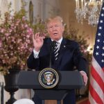 WASHINGTON, April 24, 2018 (Xinhua) -- U.S. President Donald Trump speaks at a joint press conference with French President Emmanuel Macron (not in the picture) at the White House in Washington D.C., the United States, April 24, 2018. Macron is on a state by Xinhua.