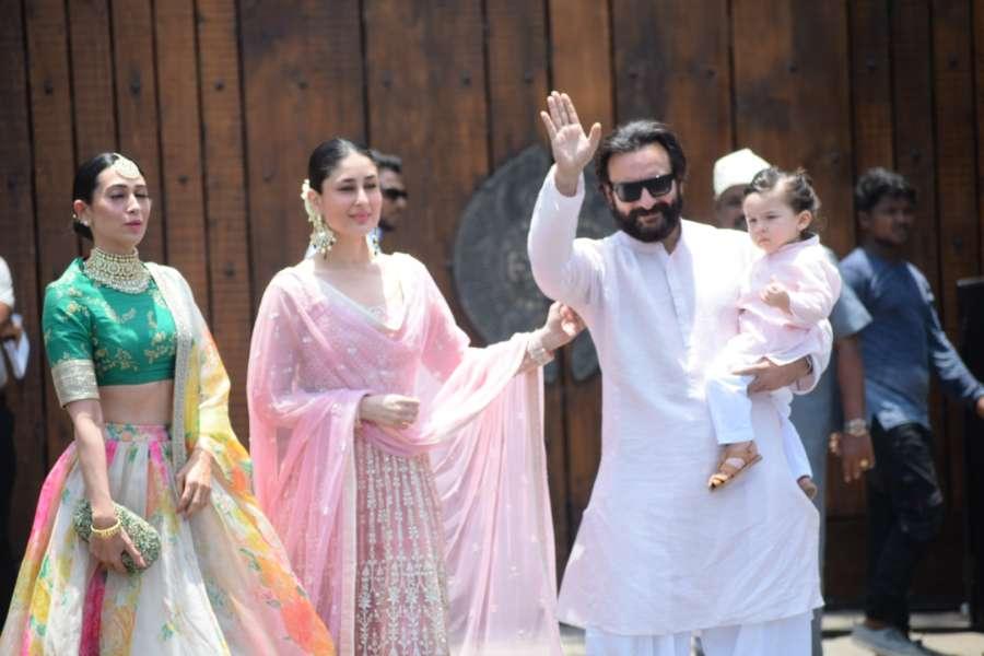 Mumbai: Actresses Karisma Kapoor and Kareena Kapoor Khan along with her husband Saif Ali Khan and son Taimur during wedding ceremony of Sonam Kapoor and Anand Ahuja in Mumbai on May 8, 2018. (Photo: IANS) by .