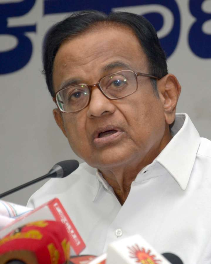 Bengaluru: Congress leader P Chidambaram addresses a press conference in Bengaluru on May 8, 2018. (Photo: IANS) by .