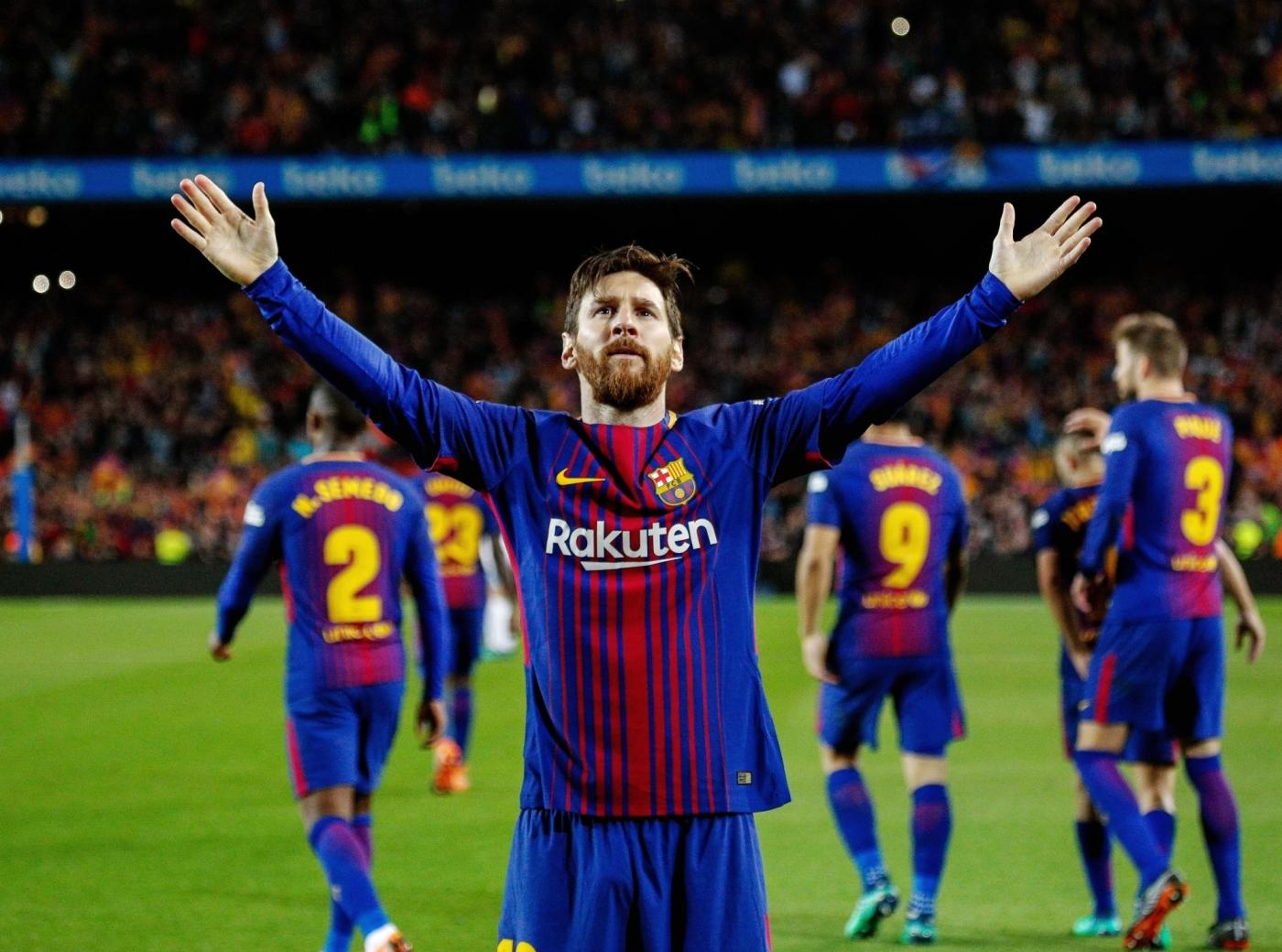 BARCELONA, May 7, 2018 (Xinhua) -- FC Barcelona's Lionel Messi celebrates his goal during a Spanish league match between FC Barcelona and Real Madrid in Barcelona, Spain, on May 6, 2018. The match ended 2-2. (Xinhua/Joan Gosa/IANS) by .