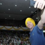 Amritsar: Former Australian cricketer and Cochlear's first Global Hearing Ambassador Brett Lee clicks a selfie with the students during the launch of Screening Of Universal Neonatal Deafness (SOUND) at Guru Ram Das University in Amritsar on May 28, 2018. (Photo: IANS) by .