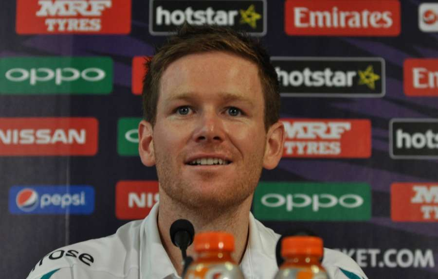 Kolkata: English captain Eoin Morgan addresses a press conference at Eden Gardens Stadium in Kolkata, on April 2, 2016. (Photo: Kuntal Chakrabarty/IANS) by .