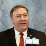 UNITED NATIONS, July 20, 2018 (Xinhua) -- U.S. Secretary of State Mike Pompeo speaks to reporters at the UN headquarters in New York, July 20, 2018. Pompeo said on Friday that U.S. President Donald Trump and Russian President Vladimir Putin began discussing the return of millions of Syrian refugees. (Xinhua/Li Muzi/IANS) by .