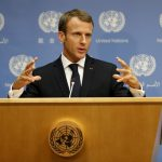 UNITED NATIONS, Sept. 26, 2018 (Xinhua) -- French President Emmanuel Macron speaks to journalists during a press conference at the United Nations headquarters in New York, Sept. 25, 2018. (Xinhua/Li Muzi/IANS) by .