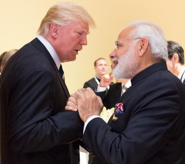 Prime Minister Narendra Modi with President Donald Trump when they met in Germany at the G20 summit in Germany on July 7, 2017. (Photo: White House/IANS) by .