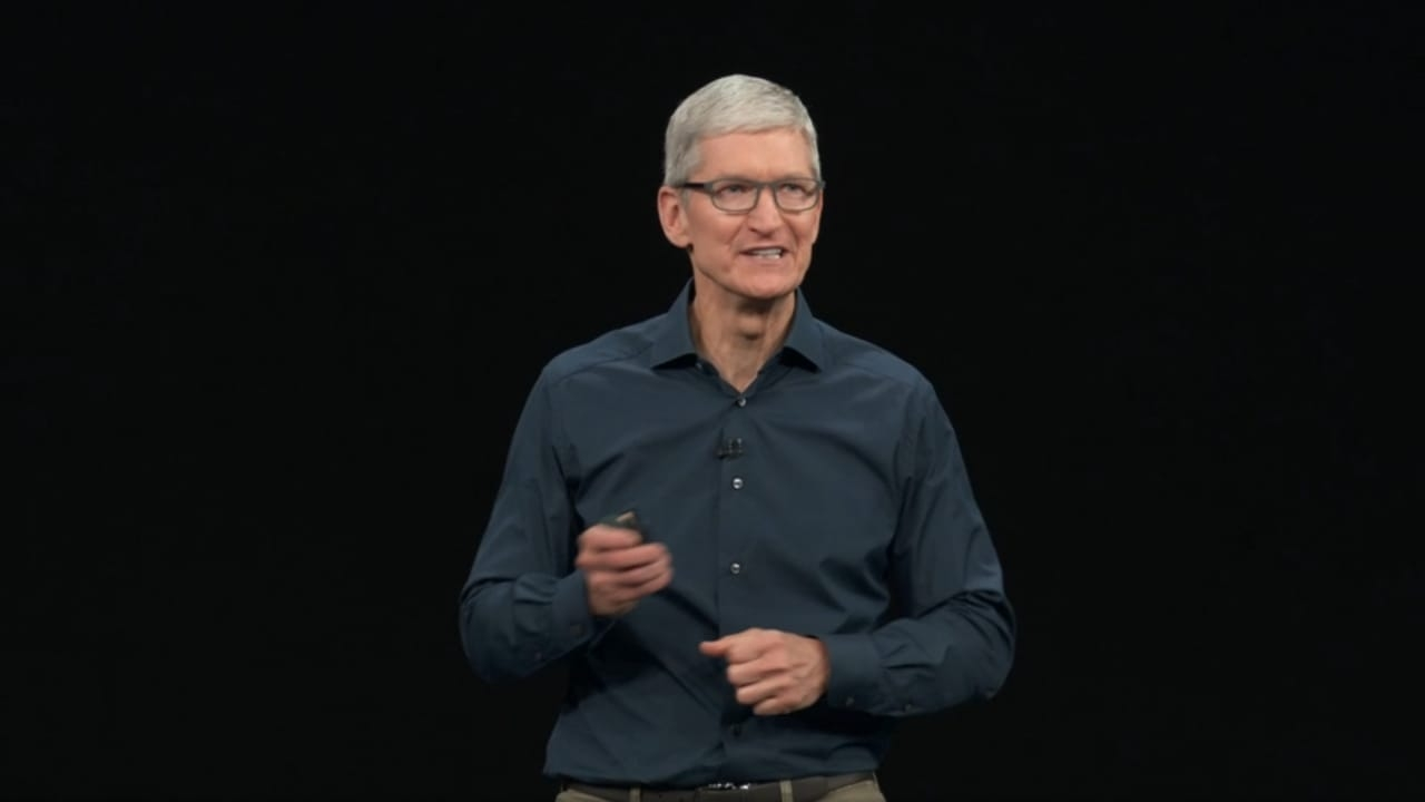 Apple CEO Tim Cook at an event in California where the company officially introduced its 2018 line-up of iPhones -- the premium iPhone XS, iPhone XS Max and iPhone XR, late on Wednesday. by .