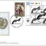 United Nations: The first day cover with the stamp issued by the United Nations Postal System for the International Day of Nonviolence depicting the Knotted Gun sculpture on the occasion of Gandhi Jayanti on, Oct. 2, 2018. (Photo: UN/IANS) by .