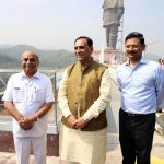 Vadodara: Gujarat Chief Minister Vijay Rupani (C), Deputy Chief Minister Nitinbhai Patel (L) and Gujarat's Chief Secretary J. N. Singh (R) at the 'Statue of Unity' which will be unveiled by Prime Minister Narendra Modi on 31st October, 2018; at Sadhu Bet near Vadodara in Gujarat on Oct 18, 2018. (Photo: IANS) by .