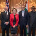 """Canberra: Indian Foreign Secretary Vijay Gokhale and Defence Secretary Sanjay Mitra meet their Australian counterparts Frances Adamson and Greg Moriarty on the sidelines of 2nd """"2+2"""" Dialogue in Canberra, Australia on Oct 10, 2018. (Photo: IANS/MEA) by ."""