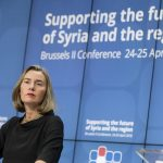 """BRUSSELS, April 25, 2018 (Xinhua) -- EU foreign policy chief Federica Mogherini speaks during a press conference after the conference on """"Supporting the future of Syria and the region"""" at EU council headquarters in Brussels, Belgium, April 25, 2018. (Xinhua/Thierry Monass/IANS) by ."""