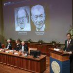 STOCKHOLM, Oct. 1, 2018 (Xinhua) -- Members of the Nobel Committee for Physiology or Medicine announce two scientists James P. Allison (L, screen) of U.S. and Tasuku Honjo (R, screen) of Japan share 2018 Nobel Prize in Physiology or Medicine during a press conference at the Karolinska Institute in Stockholm, Sweden, on Oct. 1, 2018. The Nobel assembly at the Karolinska Institute has decided to award the 2018 physiology or medicine prize jointly to James P. Allison and Tasuku Honjo for their discovery of cancer therapy by inhibition of negative immune regulation. (Xinhua/Ye Pingfan/IANS) by .