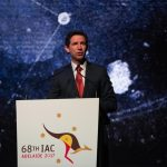ADELAIDE, Sept. 25, 2017 (Xinhua) -- Australian Minister for Education and Training Simon Birmingham speaks during the opening ceremony of the 68th International Astronautical Congress (IAC) in Adelaide, Australia, Sept. 25, 2017. The 68th IAC, a five-day conference devoted to discussing innovation and advances in the space industry, began in Adelaide on Monday. The IAC is the world's largest annual gathering of space professionals and its parent organization is the International Astronautical Federation (IAF) that is based in Paris. The International Aeronautical Congress has been held every year since 1950. (Xinhua/Xu Haijing/IANS) by .