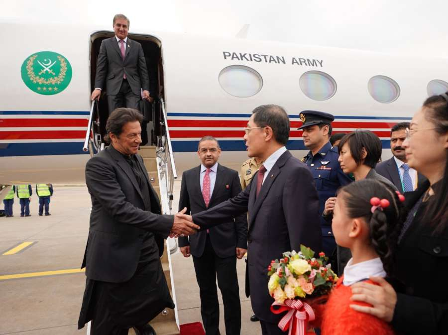 SHANGHAI, Nov. 4, 2018 (Xinhua) -- Pakistani Prime Minister Imran Khan arrives in Shanghai, east China, Nov. 4, 2018, to attend the first China International Import Expo (CIIE) which runs from Nov. 5 to 10. (Xinhua/Xing Guangli/IANS) by .