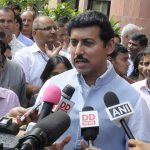 New Delhi: Union MoS Information and Broadcasting Rajyavardhan Singh Rathore talks to the media after flagging off 9 Digital Satellite News Gathering (DSNG) Vans of Doordarshan, in New Delhi on Sept 10, 2018. (Photo: IANS/PIB) by .