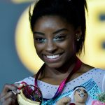 DOHA, Nov. 2, 2018 (Xinhua) -- Gold medalist Simone Biles poses on the podium during the Women's All-Around Final medal ceremony at the 2018 FIG Artistic Gymnastics World Championships in Doha, capital of Qatar, Nov. 1, 2018. (Xinhua/Nikku/IANS) by .