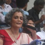 New Delhi: Author Arundhati Roy addresses a press conference, in New Delhi on Aug 30, 2018. (Photo: IANS) by .