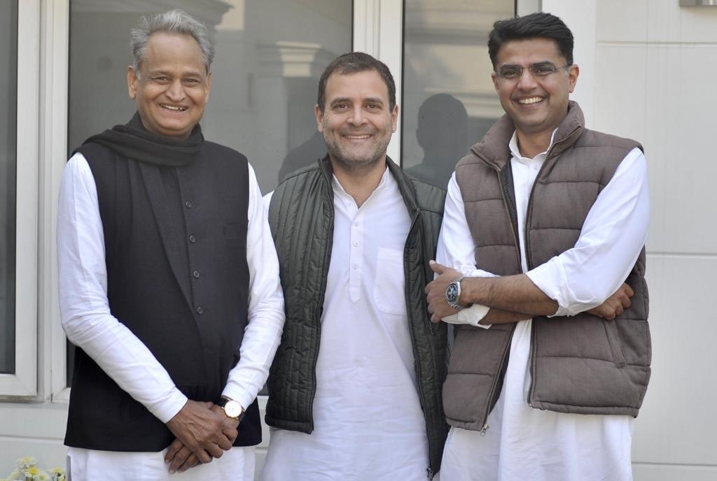 New Delhi: Congress President Rahul Gandhi with party leaders Ashok Gehlot and Sachin Pilot in New Delhi on Dec 14, 2018. (Photo: IANS) by .