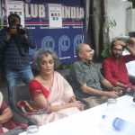 New Delhi: Social activist Aruna Roy, author Arundhati Roy, Supreme Court lawyer and Swaraj Abhiyan president Prashant Bhushan and Dalit leader Jignesh Mewani during a press conference against the police raids and arrest of human rights activists; in New Delhi on Aug 30, 2018. (Photo: IANS) by .