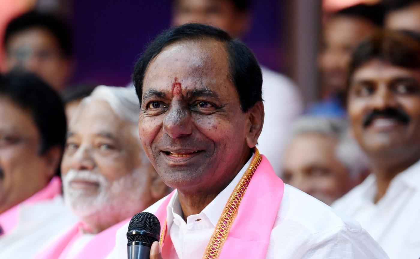 Hyderabad: Telangana Rashtra Samithi (TRS) chief K Chandrasekhar Rao during his swearing in ceremony as Chief Minister of Telangana at Raj Bhavan in Hyderabad on Dec 13, 2018. (Photo: IANS) by .